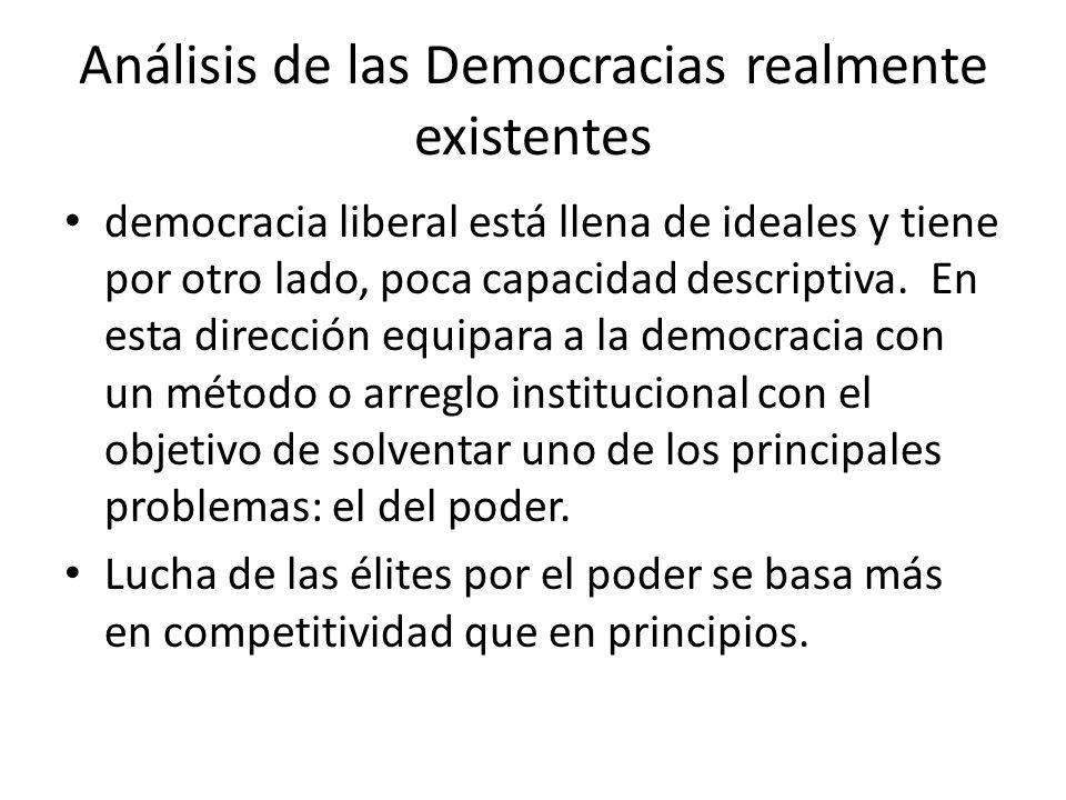 Análisis de las Democracias realmente existentes