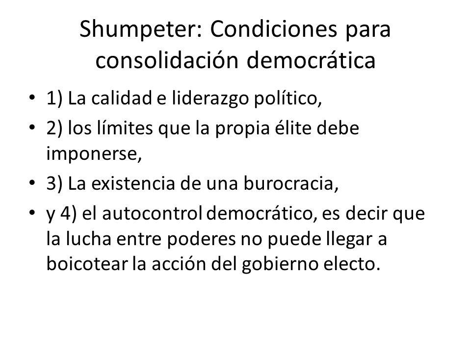 Shumpeter: Condiciones para consolidación democrática