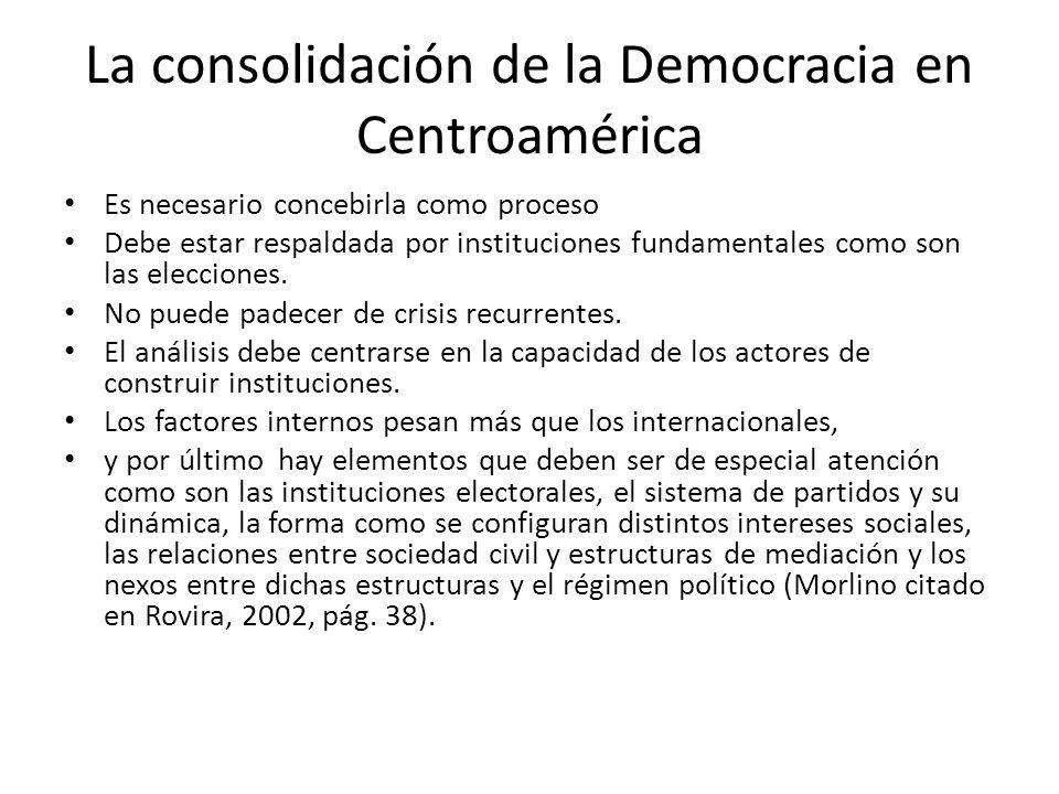 La consolidación de la Democracia en Centroamérica