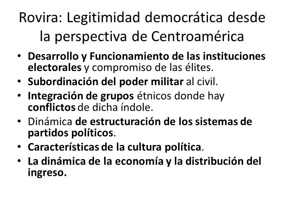 Rovira: Legitimidad democrática desde la perspectiva de Centroamérica