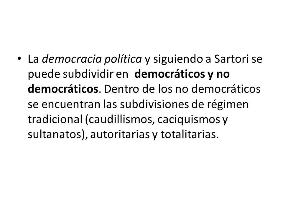 La democracia política y siguiendo a Sartori se puede subdividir en democráticos y no democráticos.