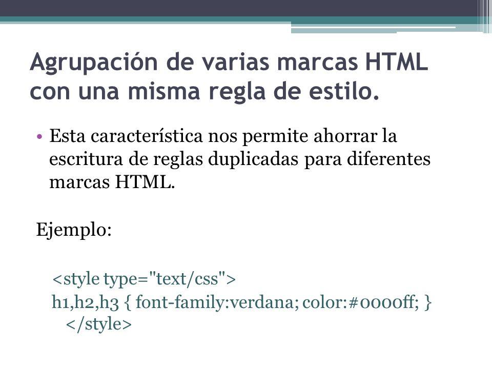 Agrupación de varias marcas HTML con una misma regla de estilo.