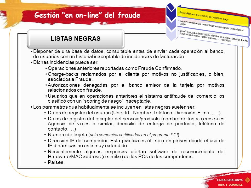 Gestión en on-line del fraude