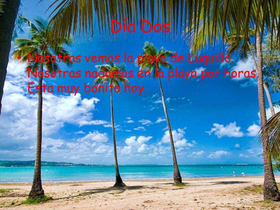 Día Dos Nosotras vemos la playa de Luquillo. Nosotras nadamos en la playa por horas.