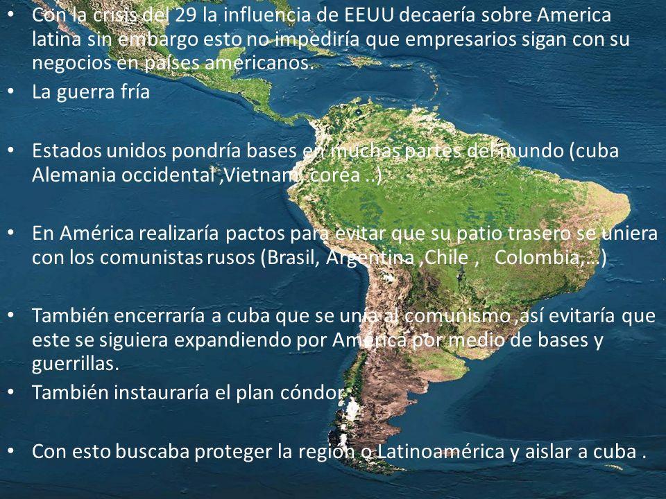 Con la crisis del 29 la influencia de EEUU decaería sobre America latina sin embargo esto no impediría que empresarios sigan con su negocios en países americanos.