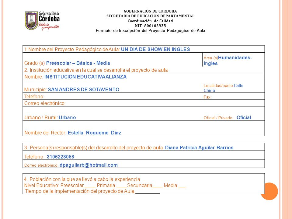 Formato de Inscripción del Proyecto Pedagógico de Aula