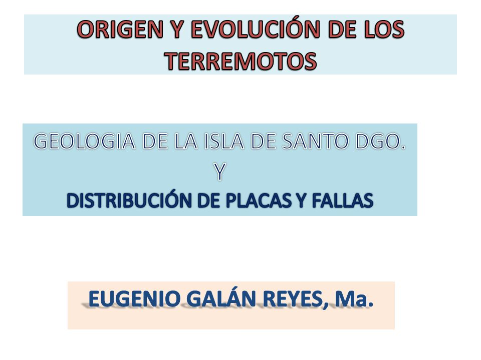ORIGEN Y EVOLUCIÓN DE LOS TERREMOTOS