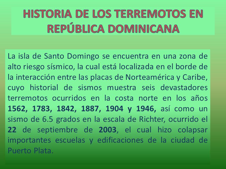 HISTORIA DE LOS TERREMOTOS EN REPÚBLICA DOMINICANA