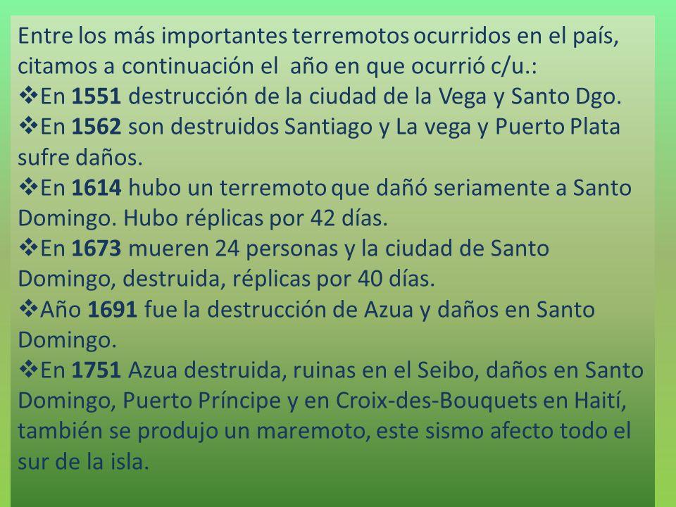 Entre los más importantes terremotos ocurridos en el país, citamos a continuación el año en que ocurrió c/u.: