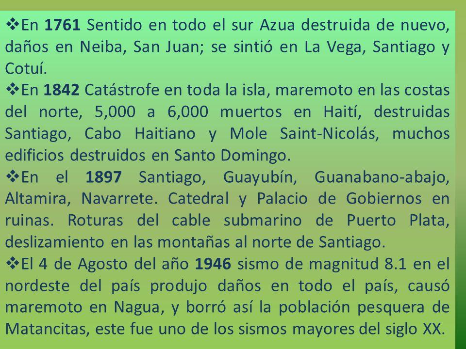 En 1761 Sentido en todo el sur Azua destruida de nuevo, daños en Neiba, San Juan; se sintió en La Vega, Santiago y Cotuí.