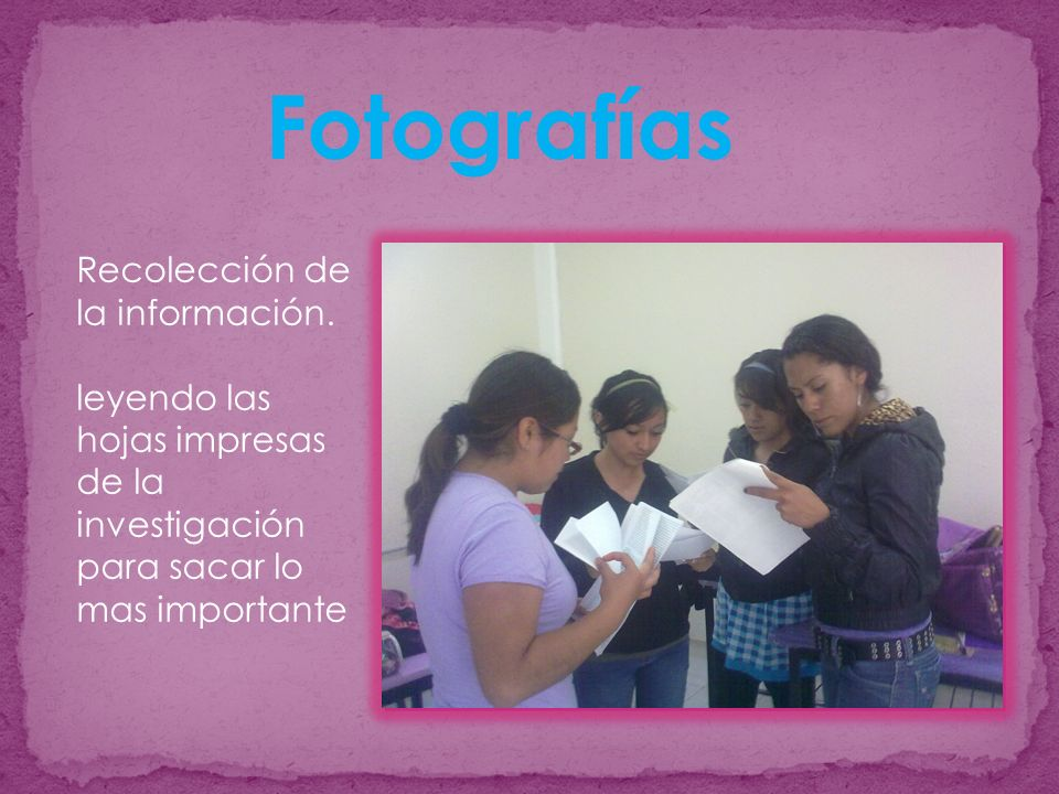 Fotografías Recolección de la información.