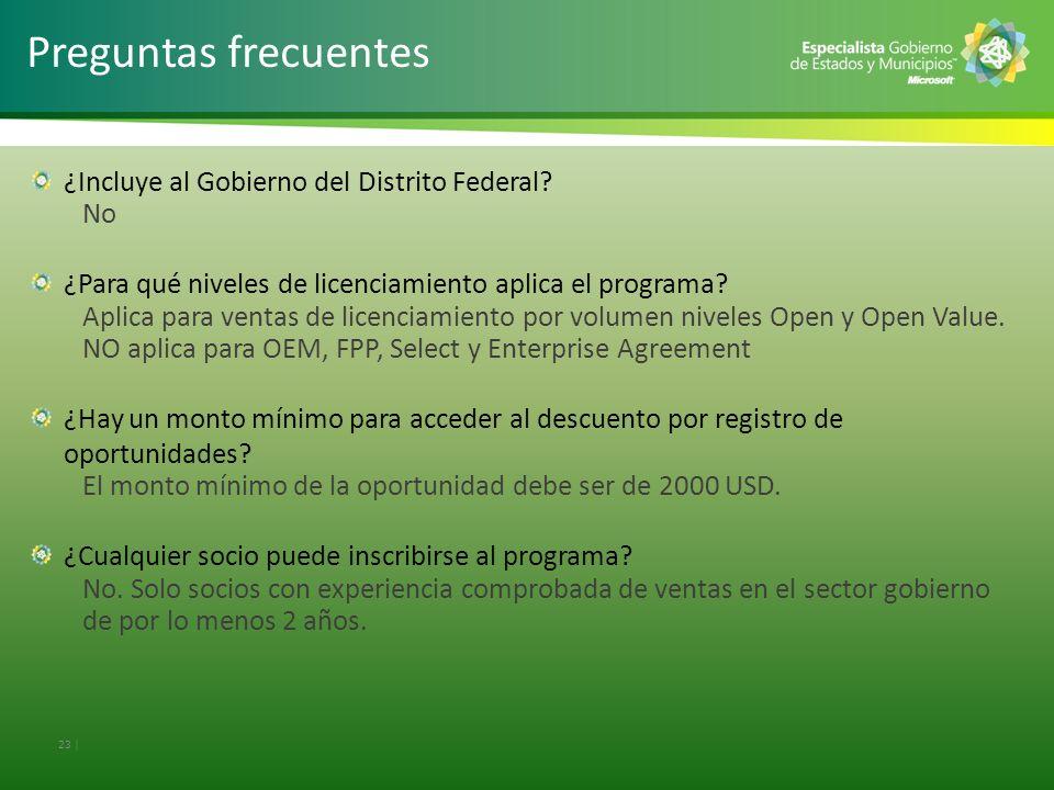 Preguntas frecuentes ¿Incluye al Gobierno del Distrito Federal No