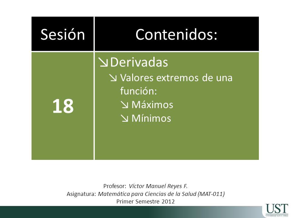 18 Sesión Contenidos: Derivadas Valores extremos de una función: