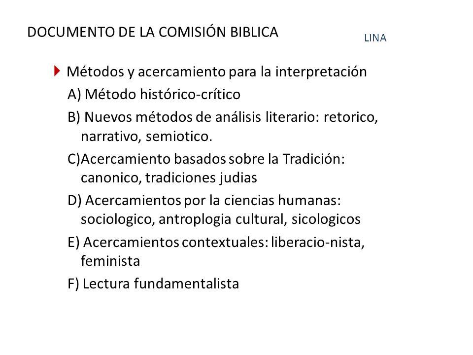 DOCUMENTO DE LA COMISIÓN BIBLICA