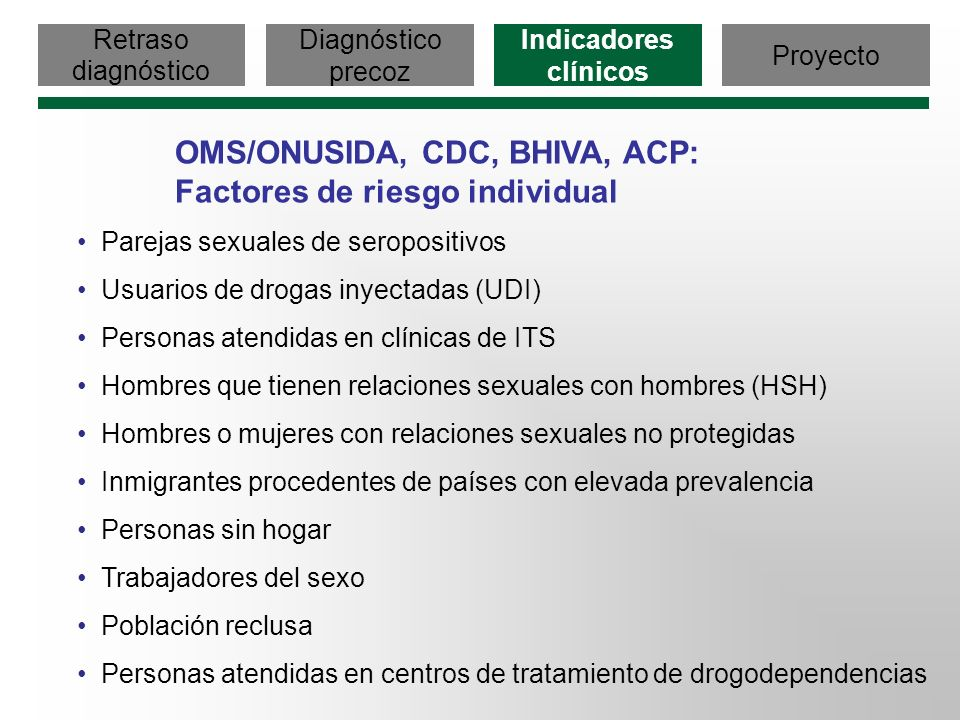 OMS/ONUSIDA, CDC, BHIVA, ACP: Factores de riesgo individual