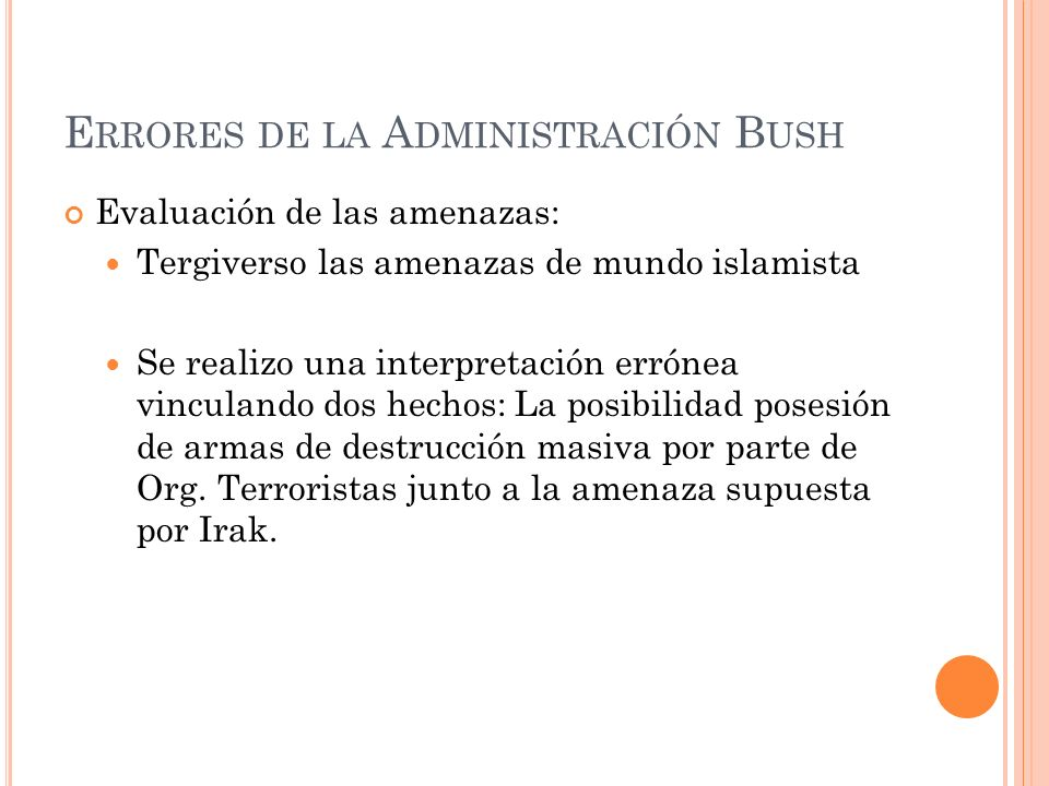 Errores de la Administración Bush