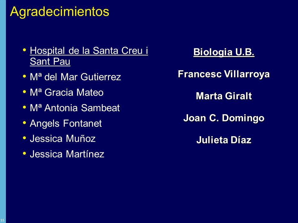 Agradecimientos Biologia U.B. Hospital de la Santa Creu i Sant Pau