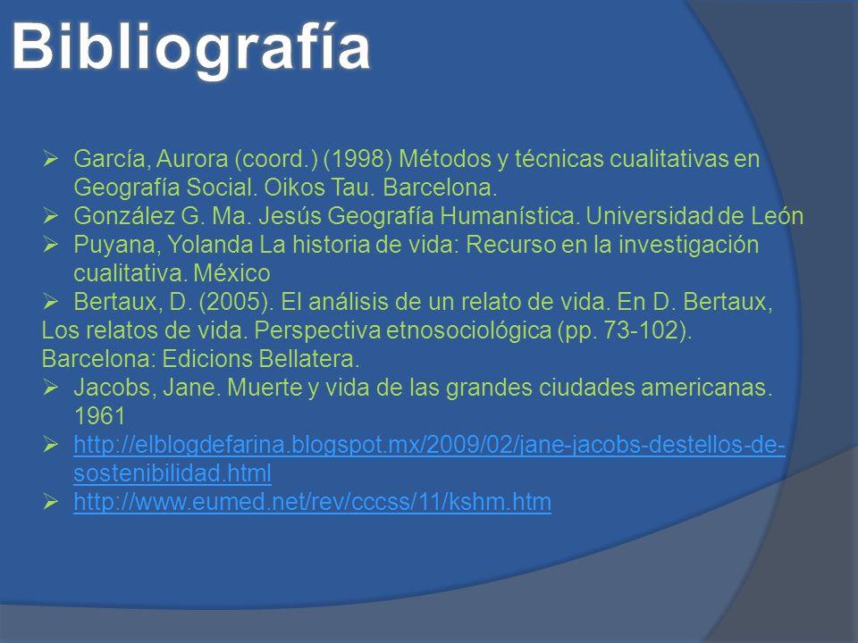 Bibliografía García, Aurora (coord.) (1998) Métodos y técnicas cualitativas en Geografía Social. Oikos Tau. Barcelona.