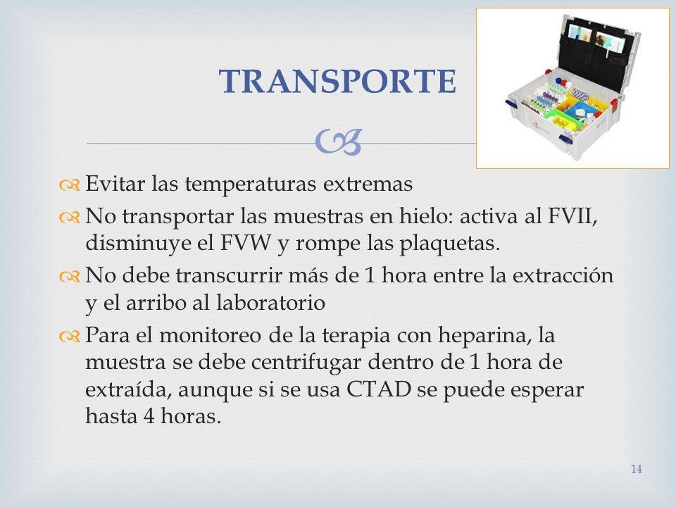 TRANSPORTE Evitar las temperaturas extremas
