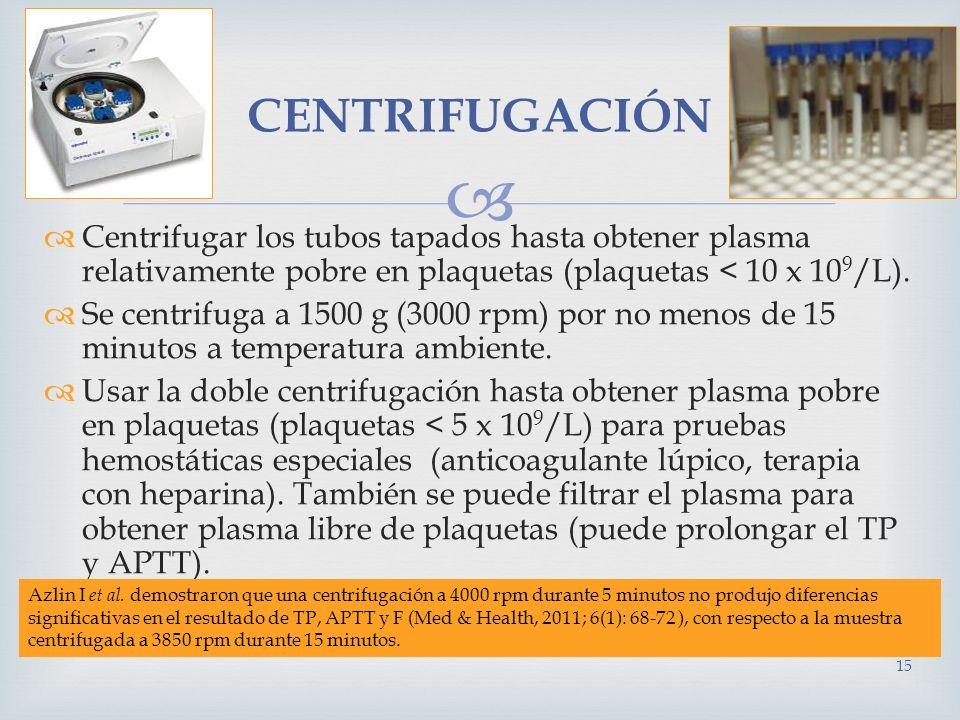 CENTRIFUGACIÓN Centrifugar los tubos tapados hasta obtener plasma relativamente pobre en plaquetas (plaquetas < 10 x 109/L).
