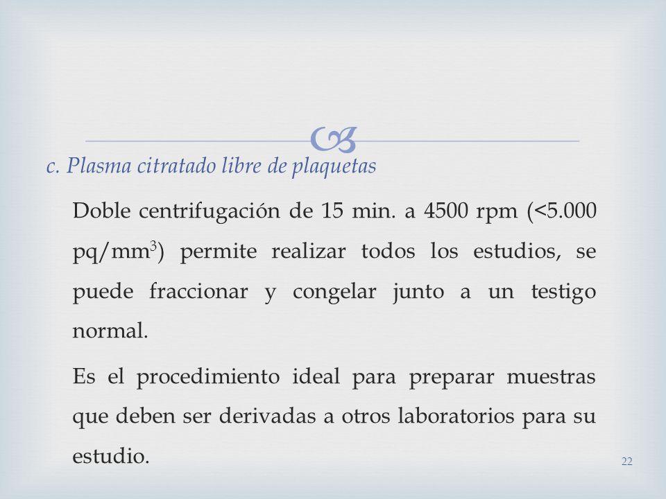 c. Plasma citratado libre de plaquetas