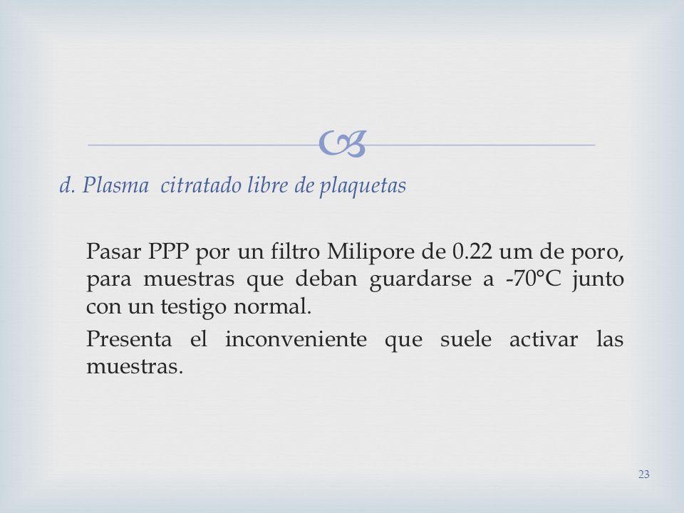 d. Plasma citratado libre de plaquetas