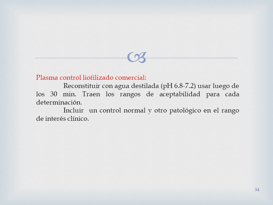 Plasma control liofilizado comercial: