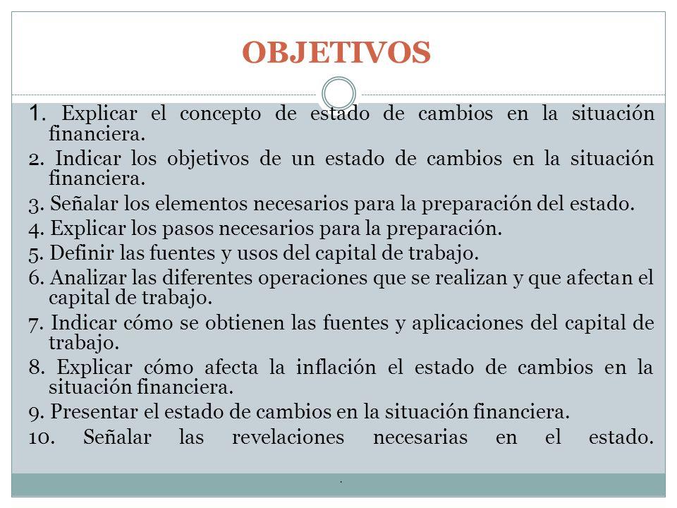 OBJETIVOS 1. Explicar el concepto de estado de cambios en la situación financiera.