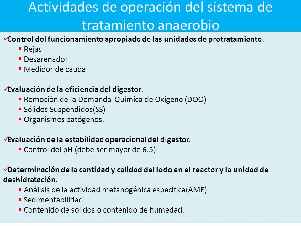 Actividades de operación del sistema de tratamiento anaerobio