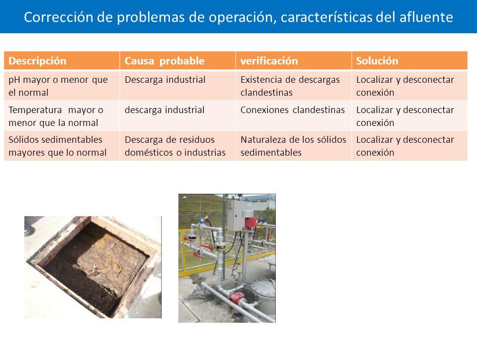 Corrección de problemas de operación, características del afluente