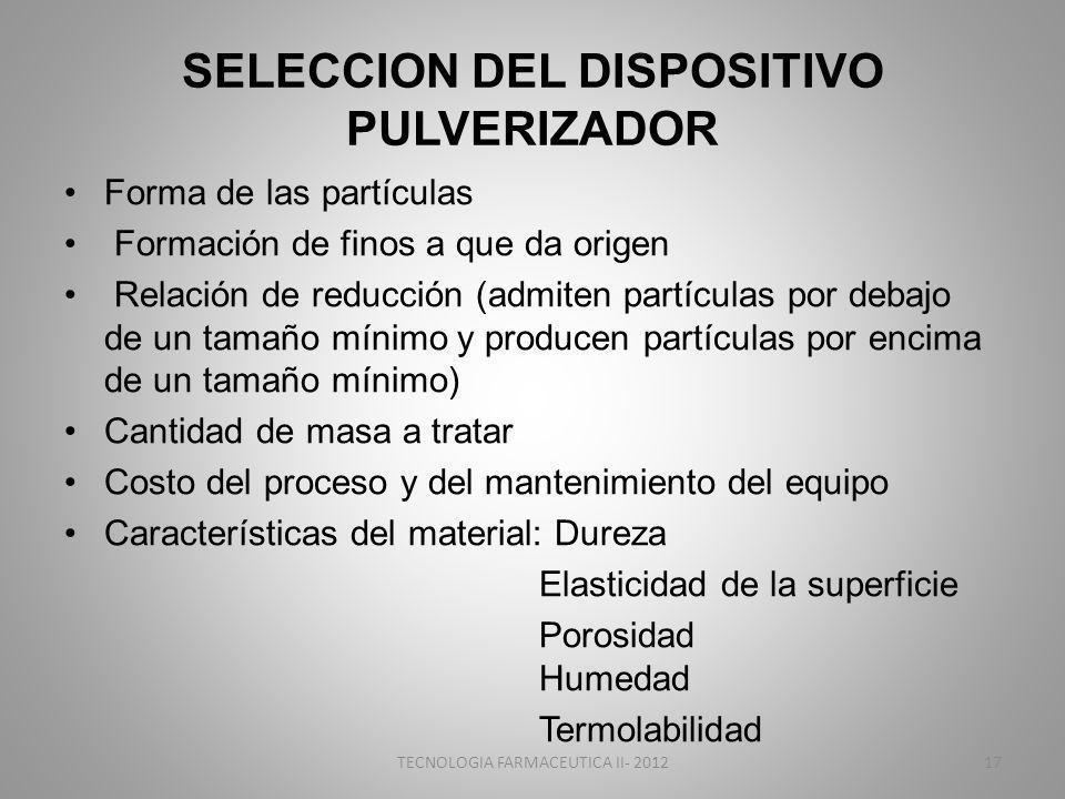 SELECCION DEL DISPOSITIVO PULVERIZADOR