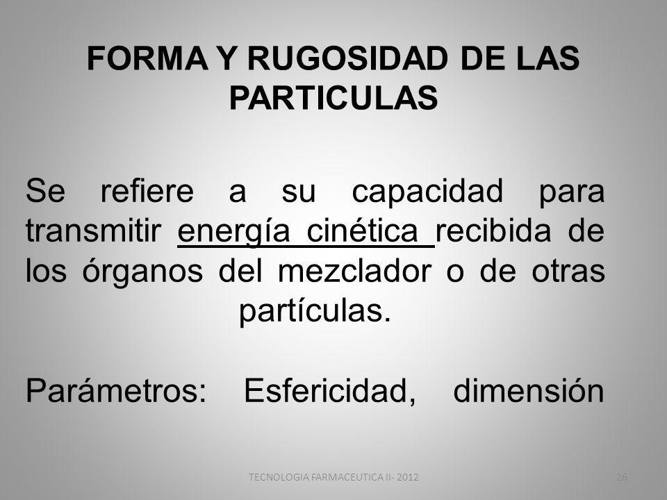 FORMA Y RUGOSIDAD DE LAS PARTICULAS