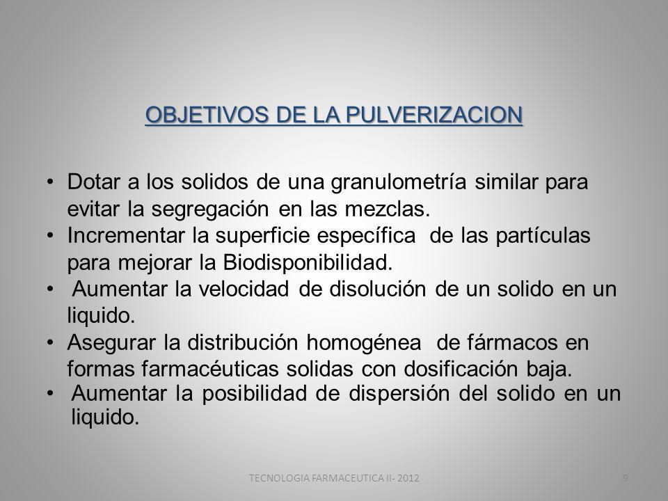 OBJETIVOS DE LA PULVERIZACION