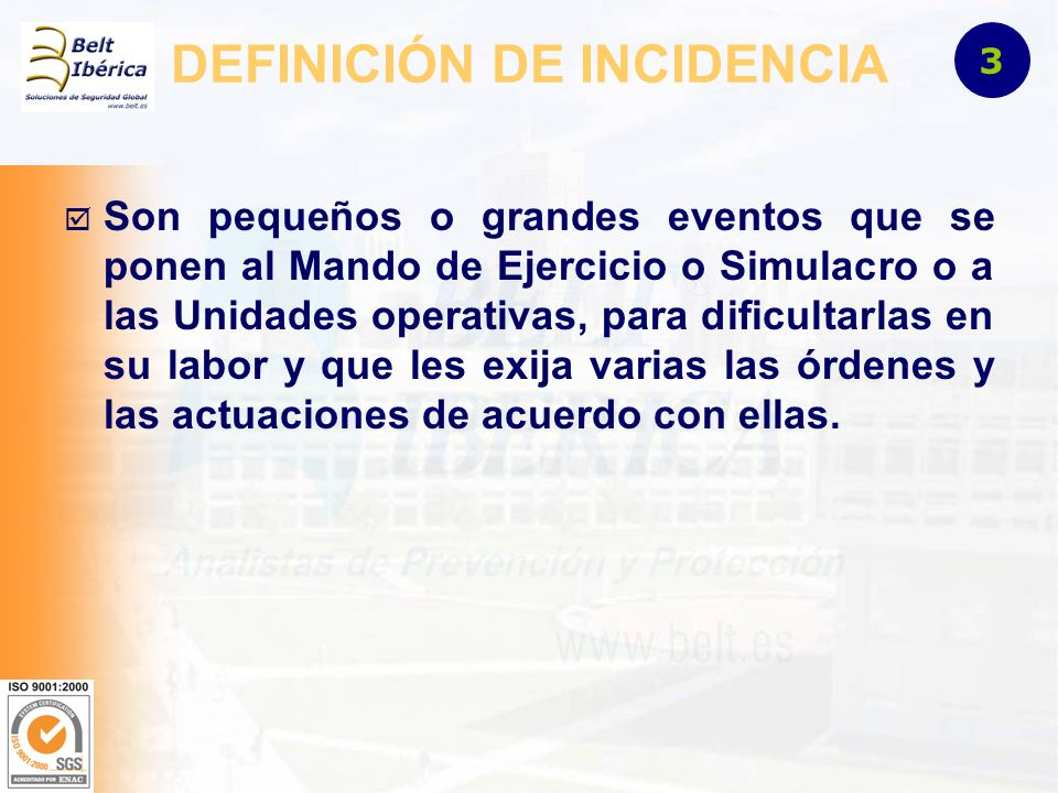 DEFINICIÓN DE INCIDENCIA