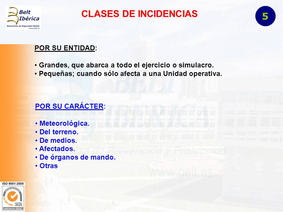 CLASES DE INCIDENCIAS 5 POR SU ENTIDAD: