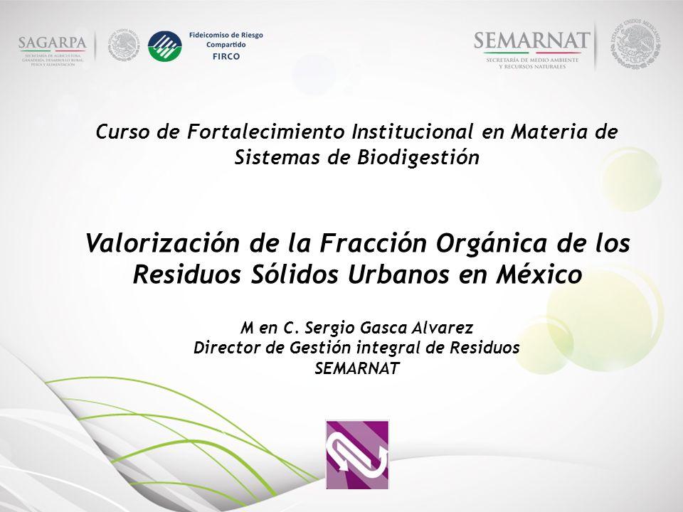 Curso de Fortalecimiento Institucional en Materia de Sistemas de Biodigestión Valorización de la Fracción Orgánica de los Residuos Sólidos Urbanos en México M en C.