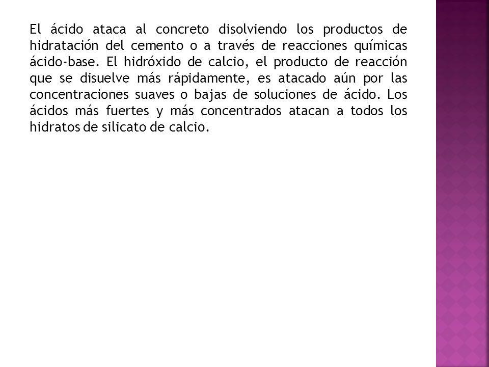 El ácido ataca al concreto disolviendo los productos de hidratación del cemento o a través de reacciones químicas ácido-base.