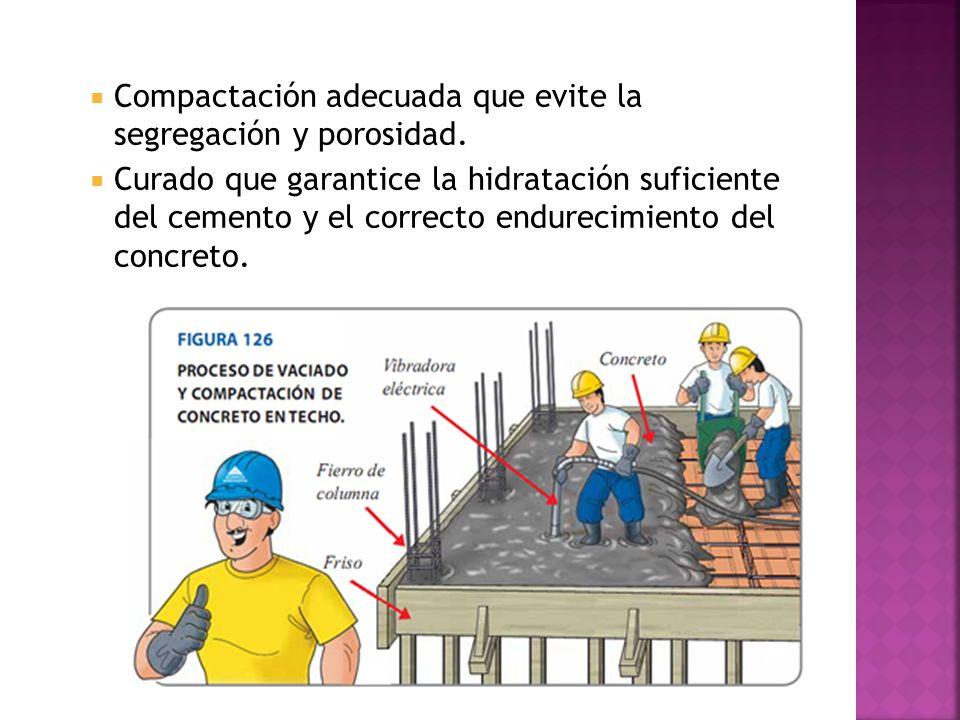 Compactación adecuada que evite la segregación y porosidad.