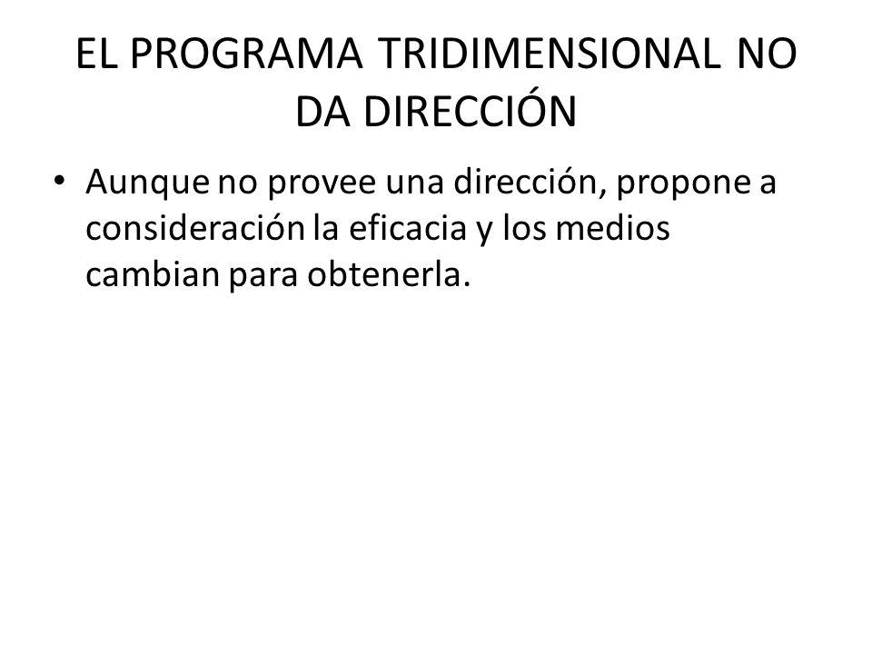 EL PROGRAMA TRIDIMENSIONAL NO DA DIRECCIÓN