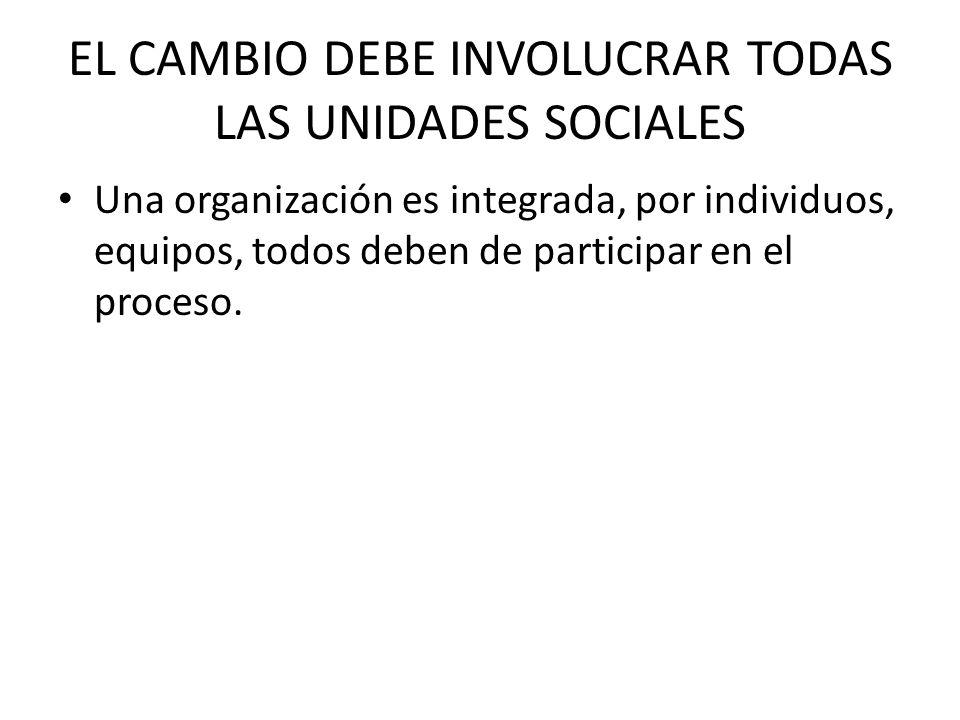 EL CAMBIO DEBE INVOLUCRAR TODAS LAS UNIDADES SOCIALES
