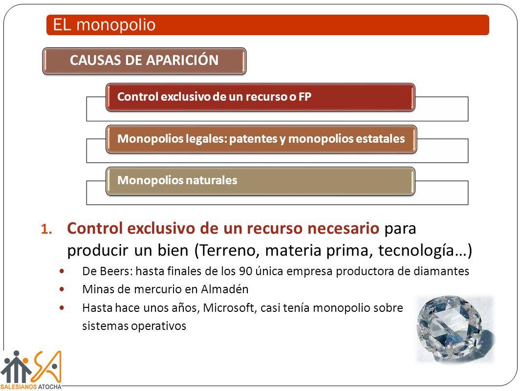 EL monopolio CAUSAS DE APARICIÓN. Control exclusivo de un recurso o FP. Monopolios legales: patentes y monopolios estatales.