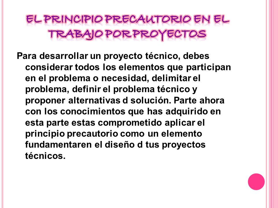 El principio precautorio en el trabajo por proyectos