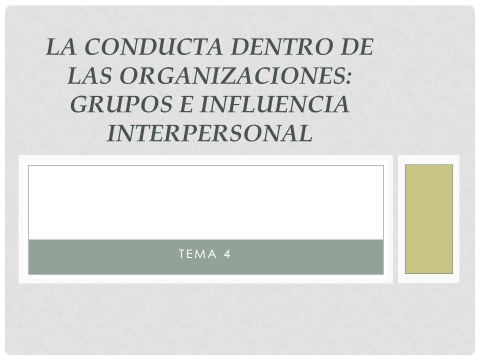 LA CONDUCTA DENTRO DE LAS ORGANIZACIONES: GRUPOS E INFLUENCIA INTERPERSONAL