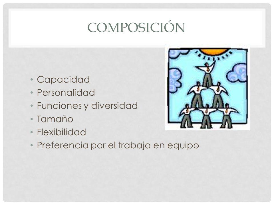 composición Capacidad Personalidad Funciones y diversidad Tamaño