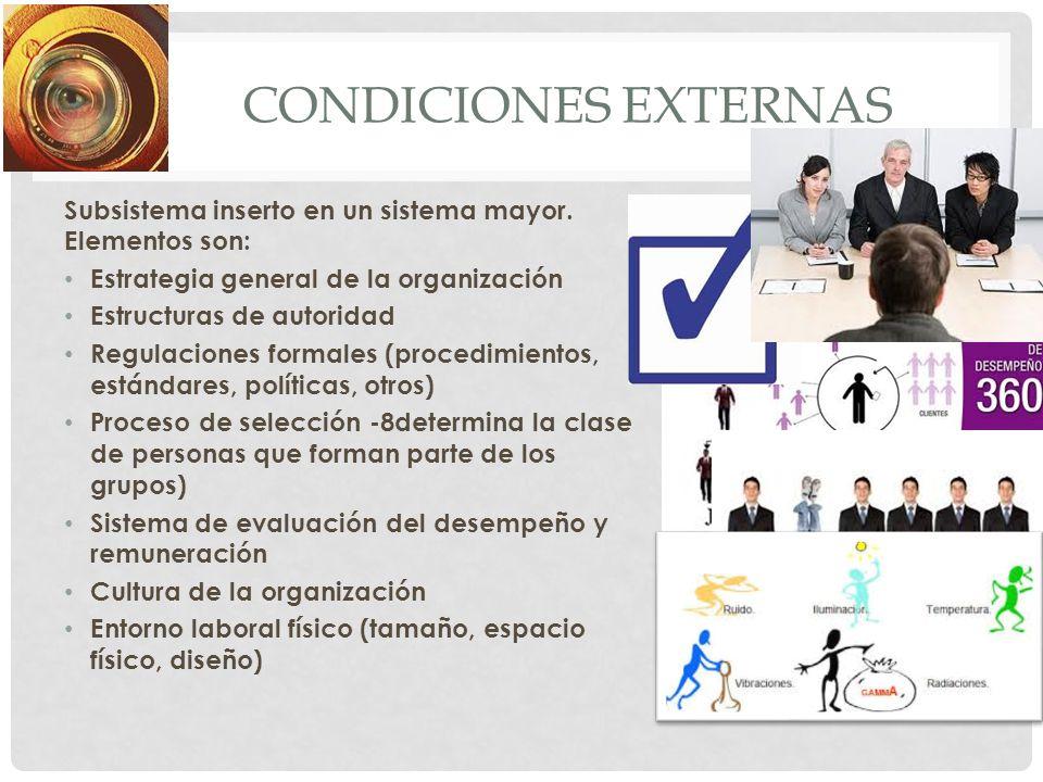 Condiciones externas Subsistema inserto en un sistema mayor. Elementos son: Estrategia general de la organización.