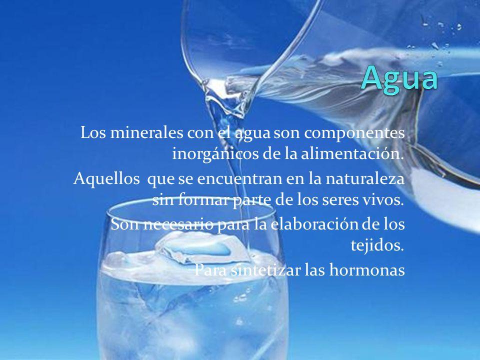 Agua Los minerales con el agua son componentes inorgánicos de la alimentación.
