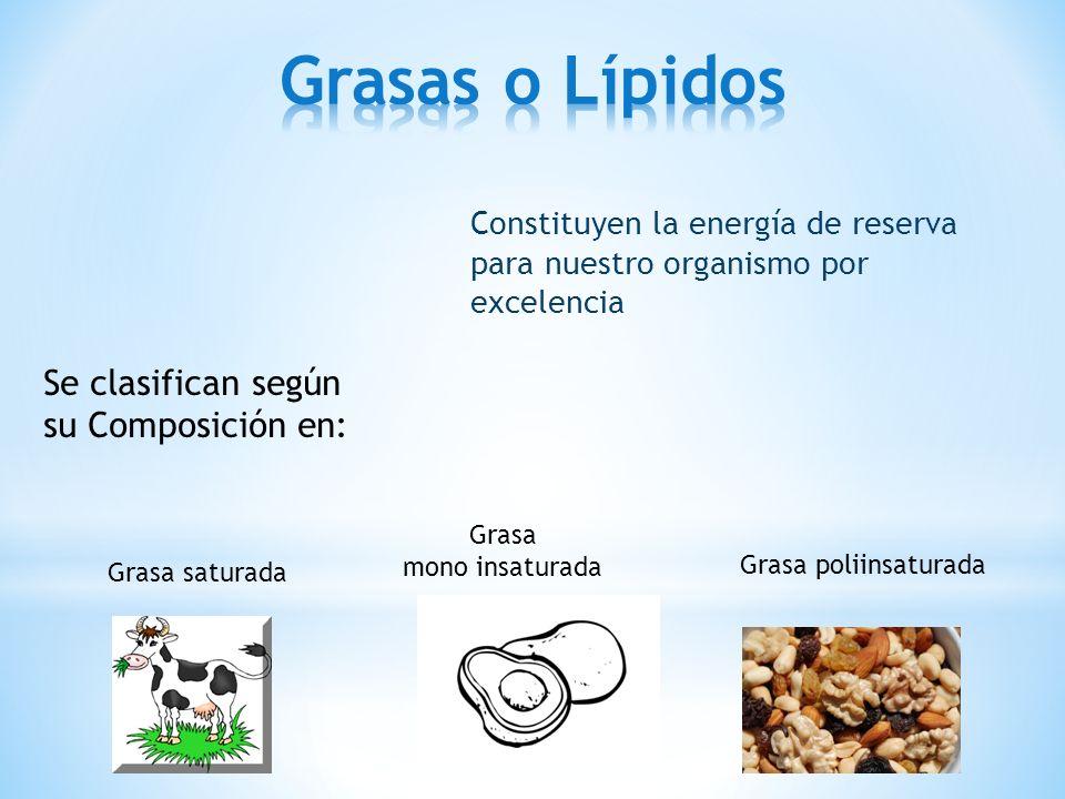 Grasas o Lípidos Se clasifican según su Composición en: