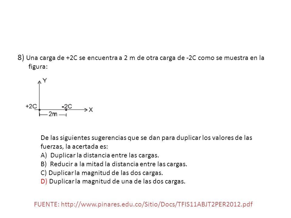 8) Una carga de +2C se encuentra a 2 m de otra carga de -2C como se muestra en la figura: