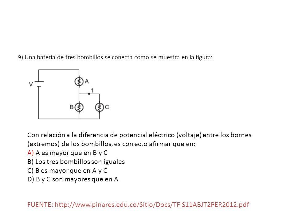 B) Los tres bombillos son iguales C) B es mayor que en A y C