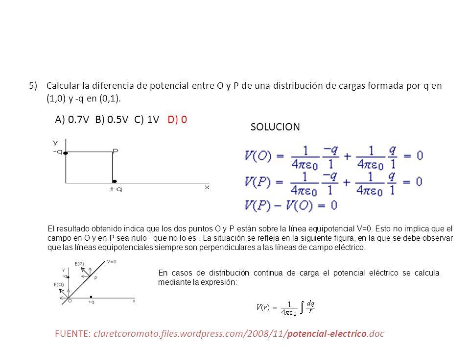 Calcular la diferencia de potencial entre O y P de una distribución de cargas formada por q en (1,0) y -q en (0,1).